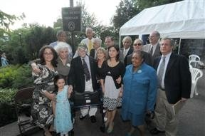 Stan Michels, friends and family at naming ceremony