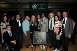 Mayor Bloomberg and Commissioner Benepe join former Olympians to cut the ribbon on the new Al Oerter Recreation Center.