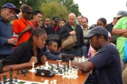 Competitors face off in 2009's Chess-in-the-Parks tournament.