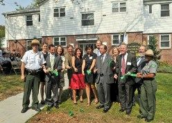 Cutting the ribbon at the City's first ever Urban Field Station on Friday.