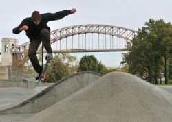 A skater tests out the new Astoria Skate Park on Monday.