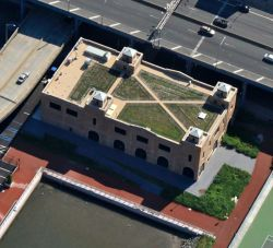 The Power House's green roof, which contributes to lower energy use, helped the building receive LEED Gold certification from the U.S. Green Building Council