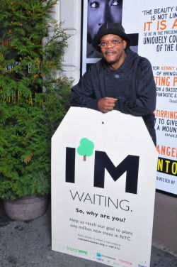 Samuel L. Jackson outside the Bernard Jacobs Theatre;