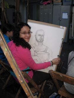 Alina Robles, 13, at an Art Students League drawing class