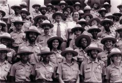 In 1979, Mayor Koch joined Parks Commissioner Gordon J. Davis and the first graduating class of Urban Park Rangers.
