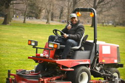 Michael Strahan took a lawn mower out for a spin, giving Sheep Meadow's turf its first mow of 2013.