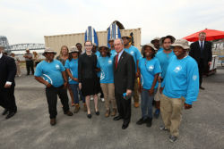 Mayor Bloomberg & Commissioner White with members of the Jamaica Bay/Rockaway Parks Restoration Corps;