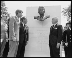 JFK Memorial Dedication at Brooklyn's Grand Army Plaza on May 31, 1965 with Robert F. Kennedy, Mayor Wagner & Borough President Stark;