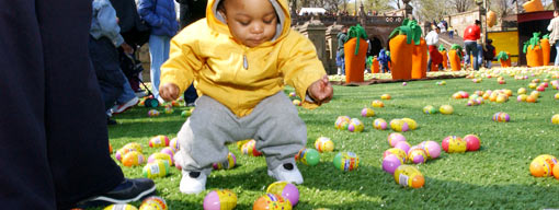 Gathering Easter eggs in Central Park.