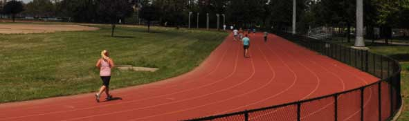 People running on a track
