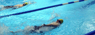 Swimmers doing laps at Chelsea Recreation Center Pool
