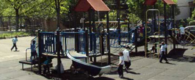 Children enjoy a playground