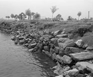 Assorted rocks line the western waterfront of Randall's Island, 1941.