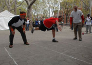 People playing handball at Street Games