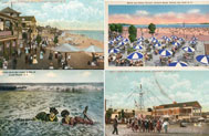 Vintage postcards from Midland Beach (upper left and lower right), South Beach (lower left), and Orchard Beach (upper right). Credit: Collection of Staten Island Institute Art & Sciences (Midland Beach and South Beach postcards) and Adrian Benepe (Orchard Beach postcard).