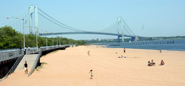 Opening day at South Beach in Staten Island. Photo: Malcolm Pinckney, Parks