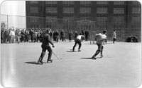 Roller hockey in Lincoln Terrace Park, March 9, 1947, New York City Parks Photo Archive