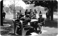 Men playing chess in Lincoln Terrace Park, July 10, 1940, New York City Parks Photo Archive