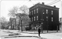 Properties on the corner of Bergen St and Troy Ave, prior to construction, c. 1950, New York City Parks Photo Archive