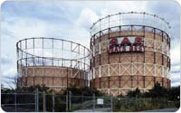 """Gas Heats Best"": Elmhurst Gas Tanks, circa 1980s, photograph courtesy of National Grid"