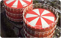 Aerial View of Elmhurst Gas Tanks, circa 1990, photograph courtesy of National Grid