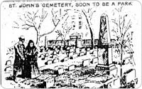 St. John's Cemetery, St. Luke's Place, Clarkson and Hudson Streets, 1896, illustration from New York World