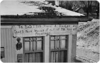 House Condemnation Protest Sign, Southern Parkway Construction, January 16, 1940, New York City Parks Photo Archive
