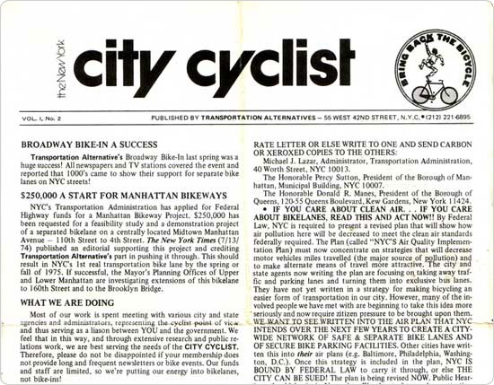 Volume 1, Number 2 of The New York City Cyclist, Transportation Alternatives? newsletter.