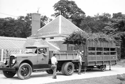 "July 2, 1936 image of the Traveling Garden ""on the go,"" ready for its next educational trip. Photo: Max Ulrich, courtesy of Parks Photo Archive."