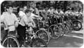 "Participants of ""The Bicycle Rodeo"" at the Central Park Mall, August 1, 1964. Courtesy of Parks Photo Archive."