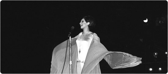 Barbara Streisand performs at Sheep Meadow, Central Park on June 17, 1967. Neg. 32948.1