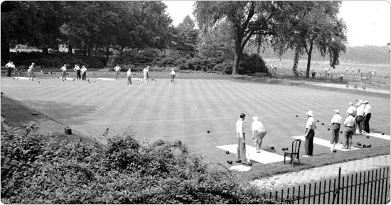 June 24, 1950 shot of the Brooklyn bowling green. Courtesy of Parks Photo Archive, Neg. 26556.