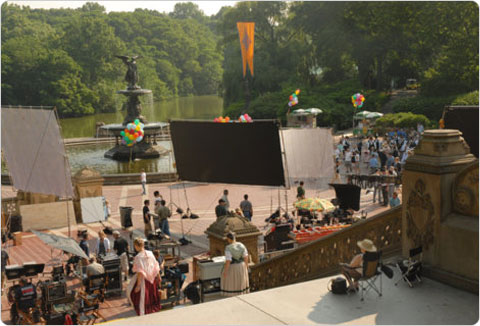 The set of Enchanted (2007) at Central Park's Bethesda Terrace. Credit: Sara Cedar Miller/Central Park Conservancy