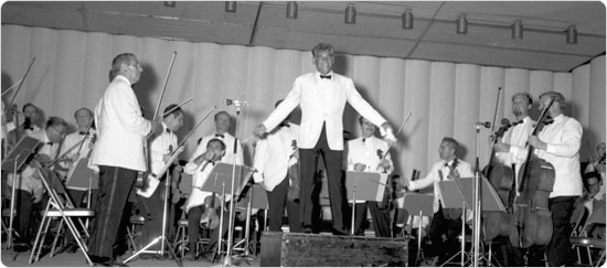 Leonard Bernstein conducts the Philharmonic on July 26, 1966 to a record-breaking crowd.