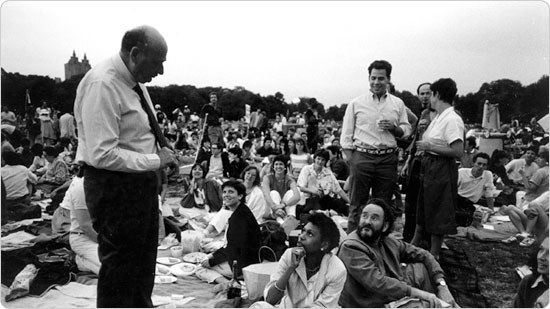 Then-Congressman Ed Koch mingles with audience members at a 1977 James Taylor performance in Sheep Meadow, Central Park. Koch became Mayor of New York City in 1978.