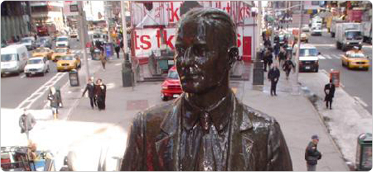 American composer George M. Cohan, creator of songs like ?You?re a Grand Old Flag? and ?Give My Regards to Broadway? is honored in sculpture form in Times Square.