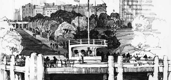 Proposed Concession Pier, Carl Schurz Park, Manhattan, Theodore Kautzky, graphite, December 1935, City of New York/Parks & Recreation