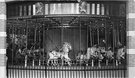 October 17, 1952 shot of the carousel in Prospect Park, Brooklyn. Courtest of the Parks Photo Archive, Neg. 27527.
