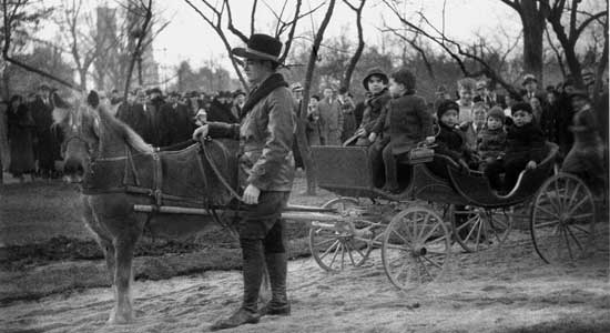 Pony Carriage, Central Park, Manhattan</em> December 2, 1934, Alajos Schuszler/New York City Parks Photo Archive
