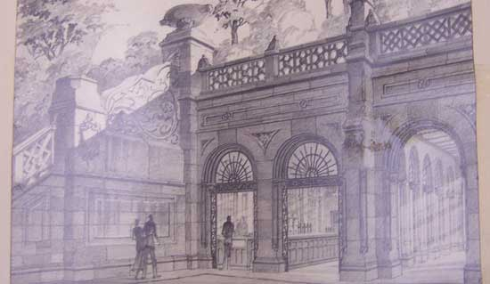 Café Proposal of Bethesda Terrace Restaurant, Central Park circa 1935, graphite, color pencil, City of New York/Parks & Recreation