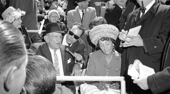 Casey and Edna Stengel with Reporters, Shea Stadium's Opening Day, Flushing Meadows-Corona Park, Queens April 16, 1964, New York City Parks Photo Archive