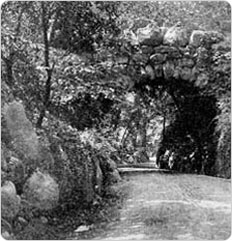 "Prospect Park's Boulder Bridge, a structure built from ""glacial erratics,"" circa 1909. Photo source: City of New York Department of Parks, 1909 Annual Report."