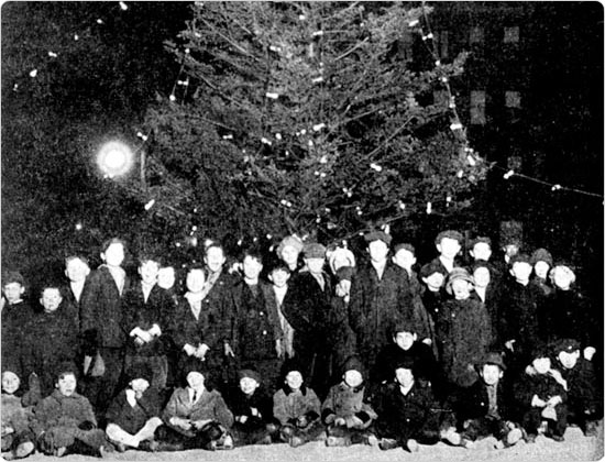 1914 Parks Annual Report photo of the Christmas tree at St. Mary?s Park in the Bronx.