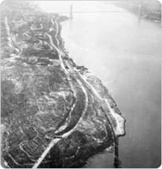 Aerial view of Inwood Hill and Fort Tryon Parks, divided by the Dyckman Street Fault, 1937.