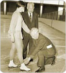 Abe Stark Rink dedication ceremonies Dorothy Hamill Abe Stark and August Heckscher Daniel Mc Partlin
