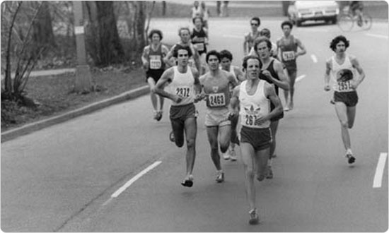 A pack of men reach the Central Park portion of the New York City Marathon, early 1980s.