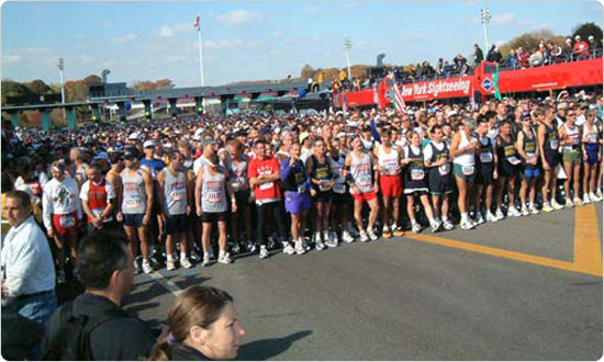 Marathon runners eagerly anticipate their start on the Verrazano Bridge, November 4, 2001. Photo: Spencer T. Tucker.