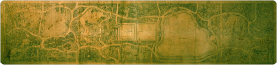 Image of Olmsted & Vaux's original Greensward Plan from 1858. The plan resides in the Central Park Arsenal.