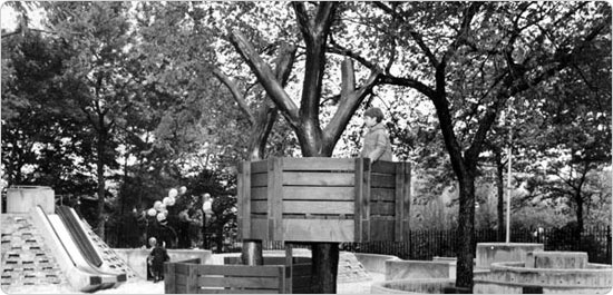 A child plays in the tree house at Adventure Playground?s opening in Central Park, May 25, 1967. Photo courtesy of Parks Photo Archive; Neg. 36077.