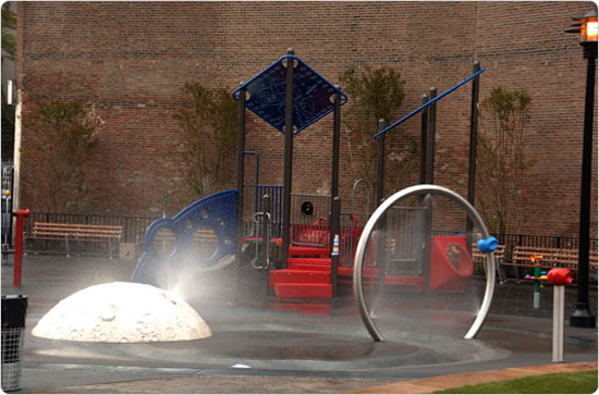 The space-themed McNair Park playground, named after astronaut Dr. Ronald Erwin McNair (1950-1986), the African-American astronaut who died aboard the Space Shuttle Challenger. Photo by Malcolm Pinckney, October 20, 2006.